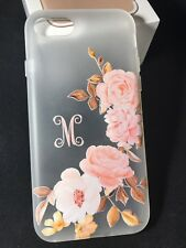 Personalized monogram initial blush golden rose flexible rubber case from USA