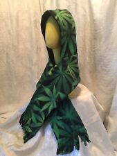 Cannabis Print Hooded Pocket Scarf Fringed Fleece handmade with fringe warm soft