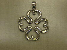 A NEW 18KT WHITE GOLD 4 leaf Colover GOOD LUCK CHARM FROM Italy  #03-0204