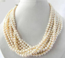"7 Strands natural 6-7mm White Freshwater Pearl Necklace 18"" JN1850"