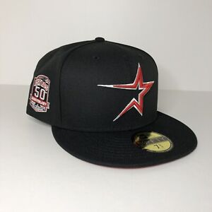 New Houston Astros Red UV Side Patch New Era 59FIFTY Fitted Black Hat Size 7 3/4