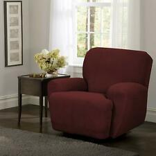 MAYTEX Reeves Stretch 4 Piece Recliner Arm Chair Slipcover Side Pocket, Red