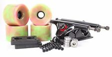 76mm 78a Pink/Green Longboard Wheels and Black  Reverse Kingpin Truck Combo Set