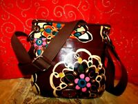 FOSSIL KEY-PER BROWN MOD FLORAL COATED CANVAS ADJUSTABLE STRAP CROSSBODY 11X11.5