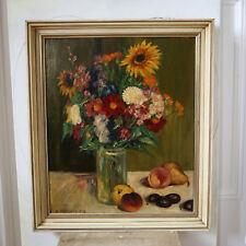 """Schönes großes antikes Öl-Gemälde Stillleben """"Blumen und Obst"""" R. HAIMMAN 1912"""