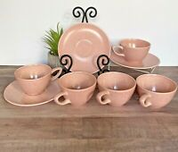 Monterey Made in California Pottery USA Pink MCM Vintage Cups (5) Saucers (3)