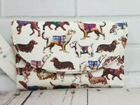 Cath Kidston Folded Curved Wallet Sketchbook Dog Design Oyster Shell Colour