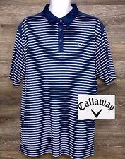 Callaway Men's Blue White Striped Short Sleeve Golf Polo Casual Shirt 2XL XXL