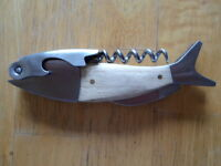 Fish Corkscrew Light Wood Handle Wine Bottle Opener w/ Foil knife, Stainless