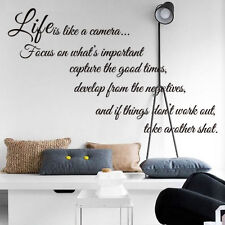 Removable Vinyl Quote Decal Room Decor Home Wall Sticker Life Camera Focus