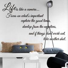 Extraíble Vinilo citas Calcomanía Decoración para el Hogar Habitación Pared Adhesivo Vida enfoque de la Cámara