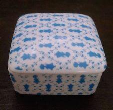 Vtg Holly Hobbie Trinket Box Square Lid Blue Silouette Petite Pattern Flowers