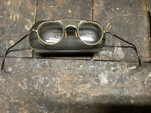 Vintage Bausch & Lomb Prescription Steampunk Motorcycle Safety Goggles Wire Mesh