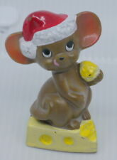 Vintage Josef Originals Christmas Mouse With Cheese Ceramic Figurine, Cute