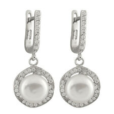Sterling silver rhodium plated dangling earrings 8-9mm freshwater pearl ESR-197