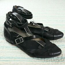 Frye Sz 6 Black Leather Buckle Ankle Strap Pointed Toe Ballet Flats Back Zip