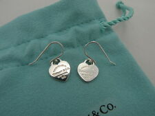 Return to Tiffany & Co Sterling Silver Heart Tag Hook Dangle Earrings T & Co