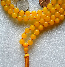 Yellow Jade Hand Knotted Yoga Mala Beads Necklace - Energized Karma Nirvana, Med