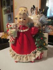 Vtg Relpo Samson planter vase Girl w/ Christmas card, stocking & cat #456L 1960