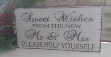 Rustic Wedding Sweet Table Sign Sweet Wishes Mr & Mrs Candy Bar Candy Cart Sign