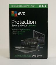 New AVG Internet Security Protection Unlimited Devices 1 Year; UNT