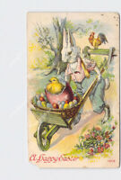 PPC POSTCARD HAPPY EASTER ANTHROPOMORPHIC BUNNY RABBIT PUSHING WHEELBARROW WITH