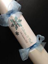Campione handmade Lusso Personalizzato FOIL WEDDING CRACKER design a fiocco di neve