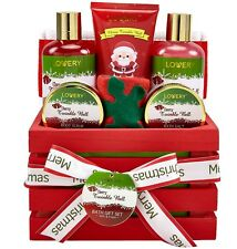 Bath and Body Christmas Gift Basket For Women - Cherry Twinkle Bell Home Spa Set