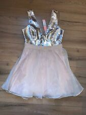 Lipsy Gold Champagne Sequin Bust Prom Bandeau Dress Uk14