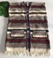 Mexican Blanket Vintage Baja Wool Stripe Aztec Wrap Fringe Jacket Womens Large