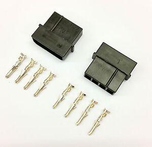 PK OF 2 - MALE 4 PIN MOLEX PC PSU POWER SUPPLY CONNECTOR - BLACK INC PINS