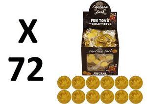 72 PLASTIC GOLD PIRATE TREASURE COINS LOOT GOODY PARTY BAG PINNATA FILLERS TOYS