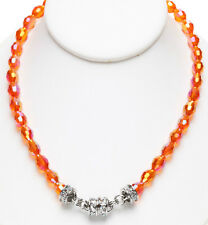 KIRKS FOLLY ORANGE AURORA BOREALIS BEADED MAGNETIC NECKLACE silvertone