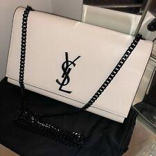 `YSL` Yves~ Saint &Laurent^ Black^ White* Leather* Kate *Clutch* Bag* Handbag *M