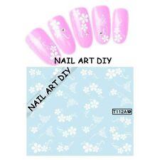 20 Nail art stickers water transfer-adesivi per ricostruzione Fiori con Farfalle
