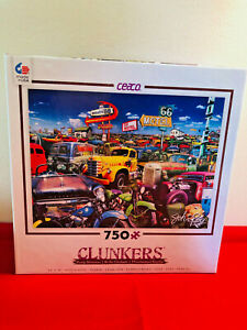 """Ceaco Clunkers Cars Trucks 750 Piece Jigsaw Puzzle Double 6 Route 24"""" x 18"""""""