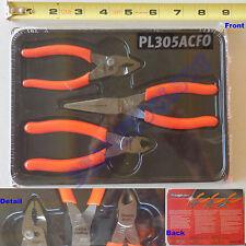 "New Snap On 5"" Orange Soft Handle Pliers 3 Pcs Set PL305ACFO - 85ACF 95ACF 44ACF"