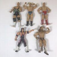 Lot of 5 Jakks Pacific + WWE Wrestling Action Figures  Bret Hart WCW 1999 2000's