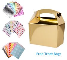5 Gold Birthday Party Food Box Meal Lunch Boxes & Free Paper Candy Cake Bags