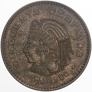 1956-MO MEXICO 50 CENTS BU UNC DEEP BOLD COLOR TONED CHOICE (MR)