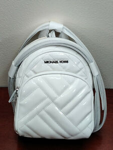 NWT New MICHAEL Michael Kors Abbey X-Small Mini Backpack Xbody in White Color