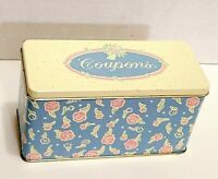 Vintage Pastel Blue Pink Yellow Floral Tin Coupon Holder with Original Dividers