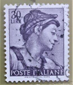 FRANCOBOLLO  MICHELANGIOLESCA DEL 1961 DA  30 LIRE D'EPOCA RARO.