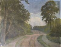 Oil Painting Street At Forest Unreadable Signed 1931 10 3/16x13in Antique