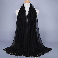 Women's Maxi Plain Scarf Muslim Hijab Long Voile Pearl Sarong Islamic Wrap Shaw
