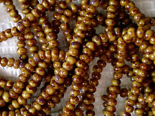 Vtg 1 HANK GOLD / BROWN OLD BEADS CUSTOM PICASSO FINISH CZECH #063012o 10/0