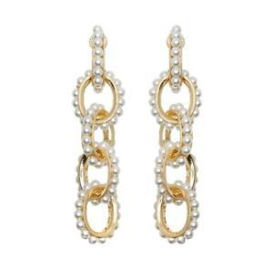 Soru Mondello Earrings  yellow gold featuring Swarovski pearls.