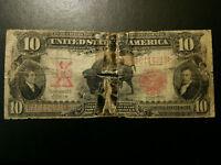 1901 Ten Dollar $10 Bison Legal Tender VG Details Note Bill Currency Red Seal