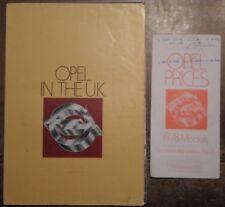 OPEL RANGE orig 1977-78 UK Mkt Sales Brochure + Price List - Kadett Manta Ascona