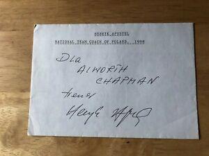 Henryk Apostel Legia Warsaw Poland Footballer Manager signed envelope/ autograph